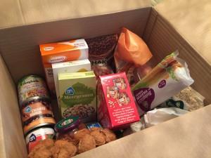 doos gezonde producten gewonnen bij AH marathon trainingsweek 4 Nora