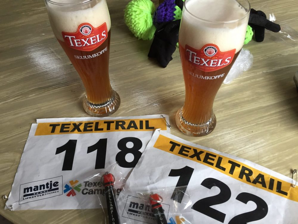 biertje na de finish bij Texel trail