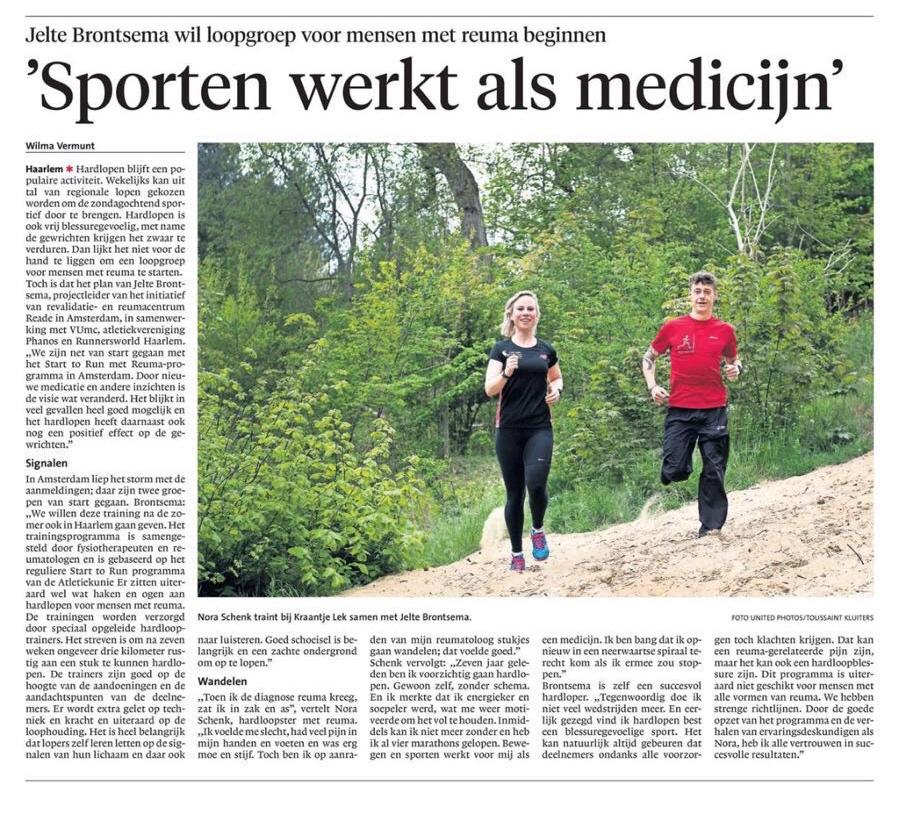 Harlopen met Reuma in Haarlems Dagblad 23-5-2017