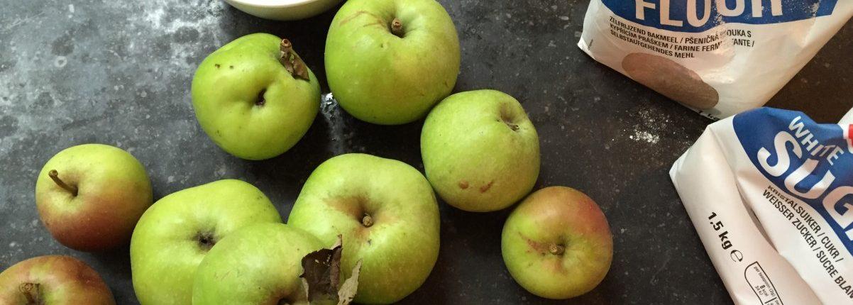 appels voor appeltaart en benodigdheden