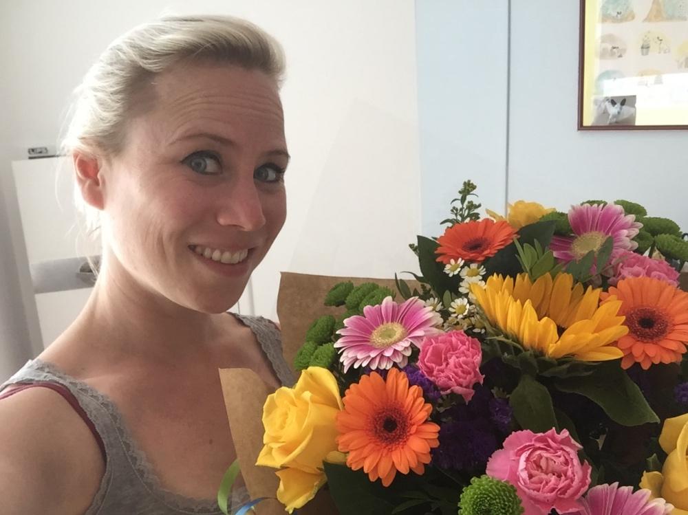 bloemen gekregen!!