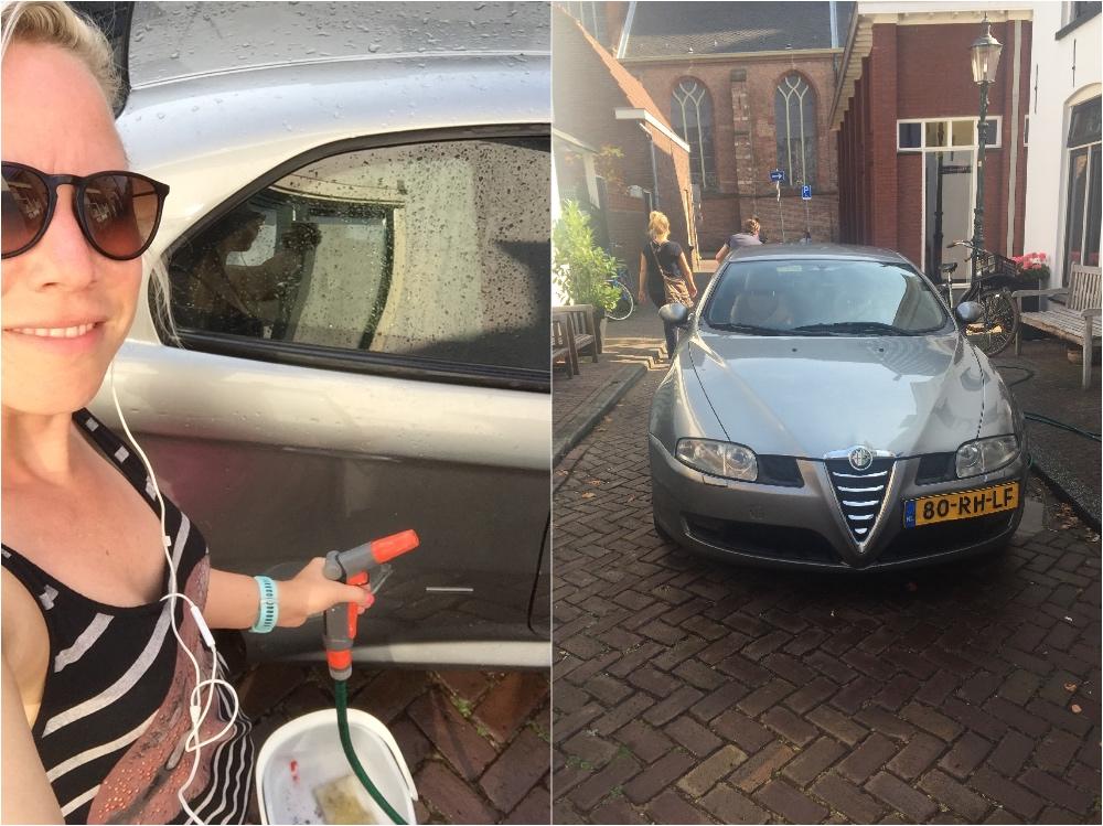 auto wassen in de Middenstraat