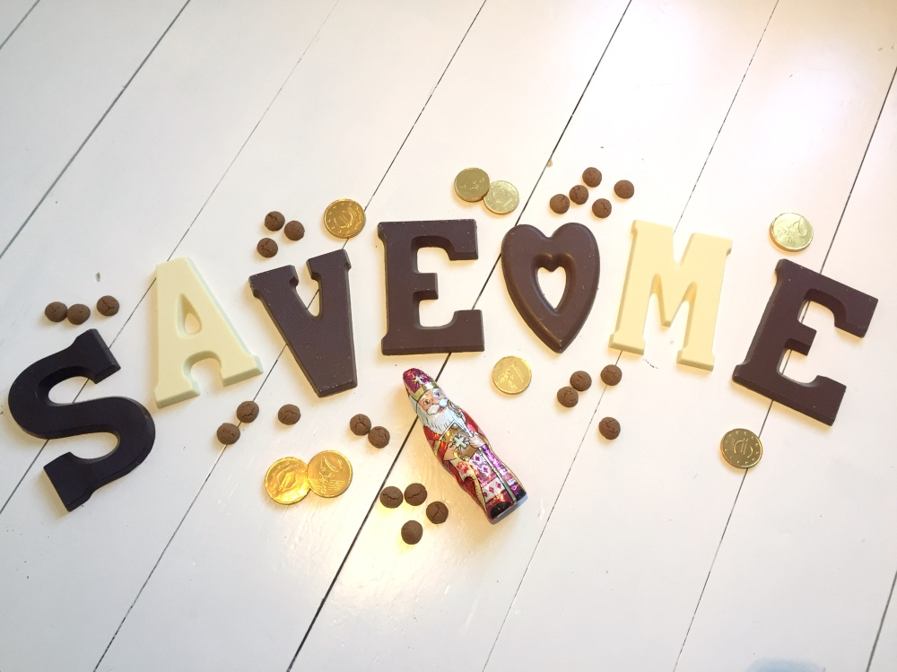 Save-Me in chocoladeletters