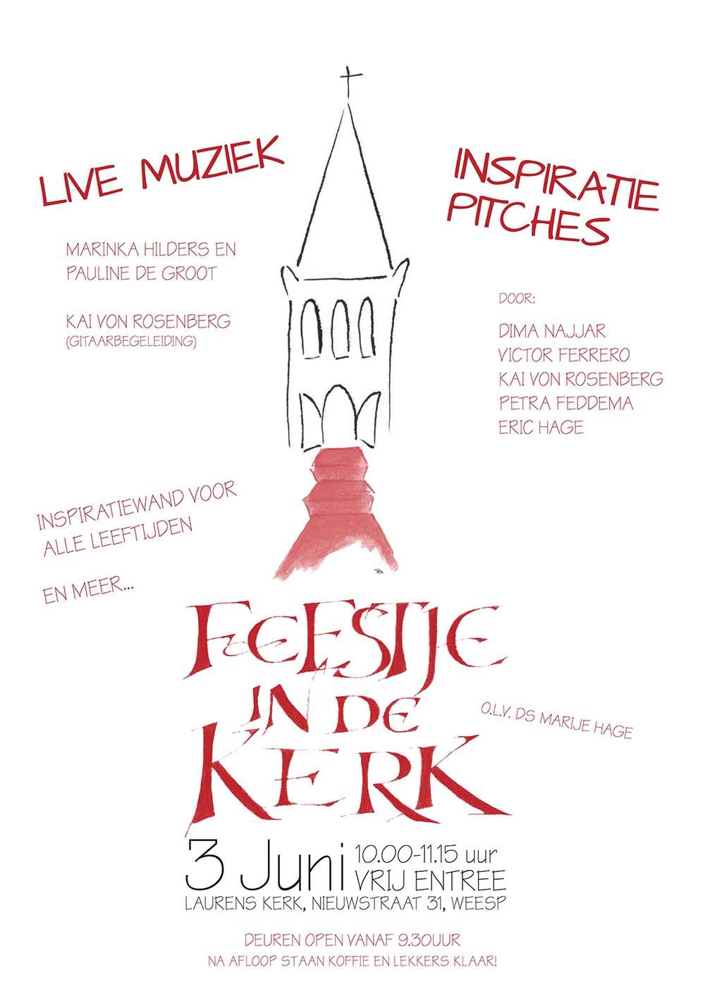 Poster Feestje in de Kerk 3 juni