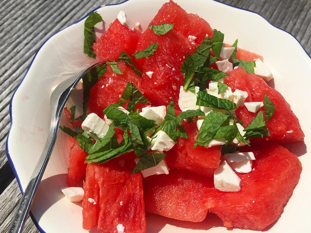 Watermeloen salade munt feta