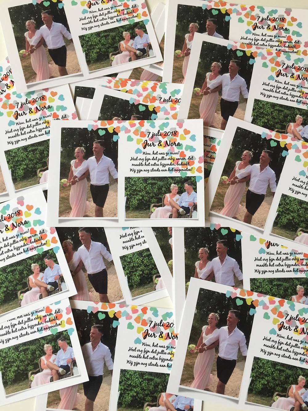 bedankkaarten bruiloft Noor en Jur Kaartje2Go staand