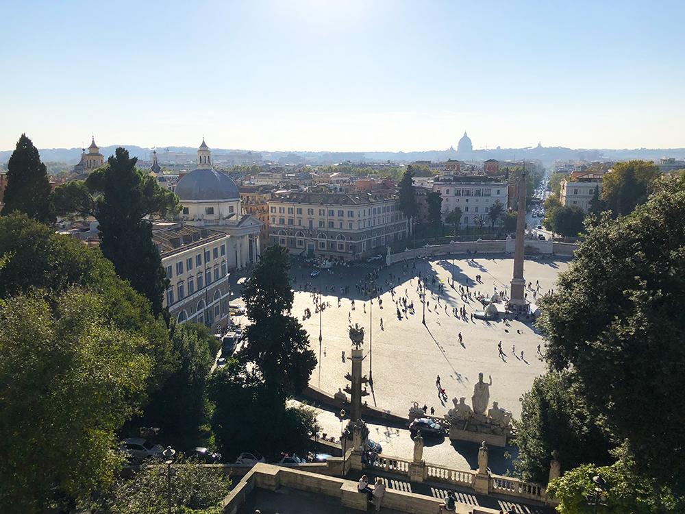 piazza del popolo van boven